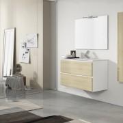 Modular Rebel 90 cm. – Blanco brillo y roble bardolino
